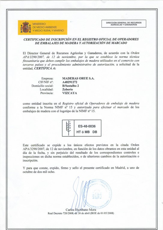 Certificado NIMF 15