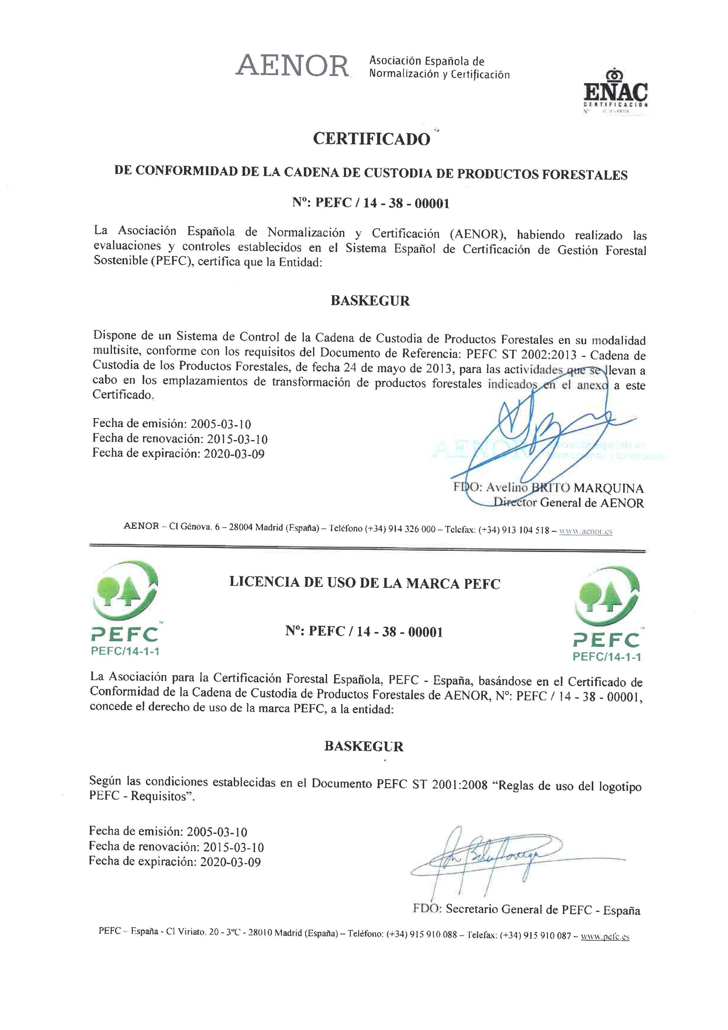 Certificado PEFC 2