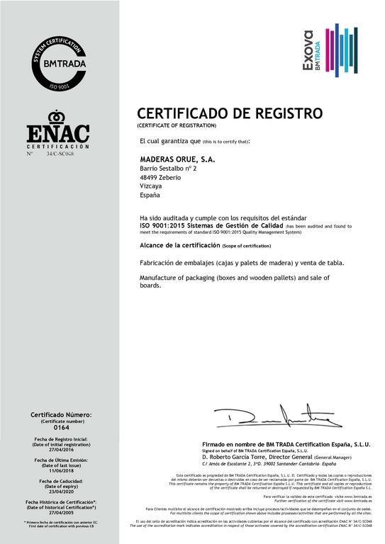 Certificado Calidad - Maderas Orue